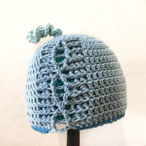 Summer science march beanie with DNA – blue warbler