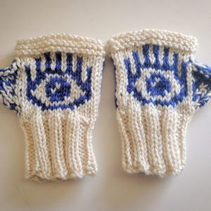 Handknit Evil Eye Gloves (made to order, allow 2-4 weeks to make)