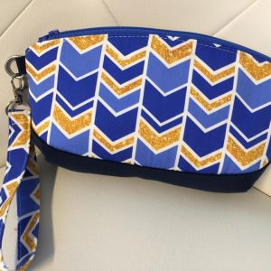 Blue and gold geometric clutch purse